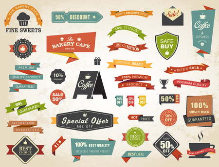 Vintage vector set of  labels banners tags stickers badges design elements. Illustration