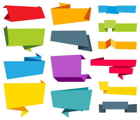 Vector file representing Origami Banner Label Ribbon design collection. 版權商用圖片 - 62345231