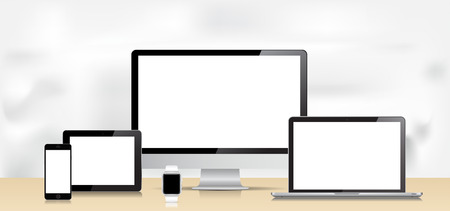 This image is a vector file representing a Laptop, Smartphone, Smartwatch, Tablet and Desktop Computer. Illustration