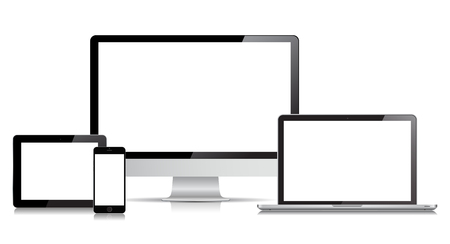 This image is a vector file representing a Laptop, Smartphone, Tablet and Desktop Computer.