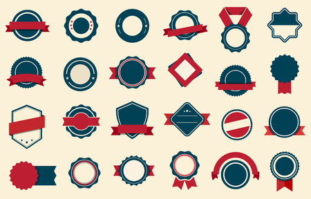 This image is a vector file representing Badges Labels Ribbons Vector design set. Ilustracja