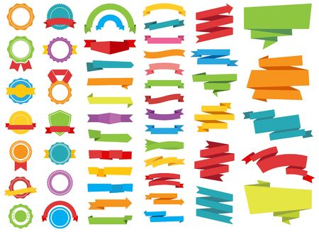 This image is a vector file representing Badge Ribbon Labels Stickers Banners vector design collection.