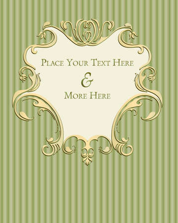 shabby chic: Beautiful Scrollwork emblem on a Sage-colored striped background