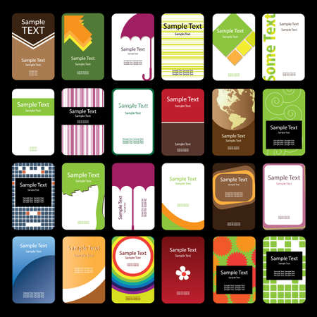 24 Colorful Vertical Business Cards Stock Vector - 9897503