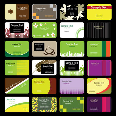 24 Colorful Business Cards Stock Vector - 9897468