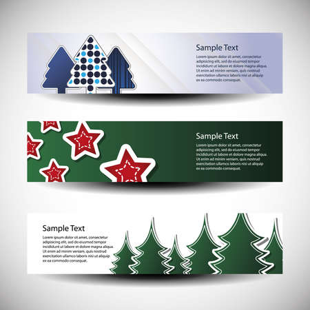 Christmas vector set of three header design Vector