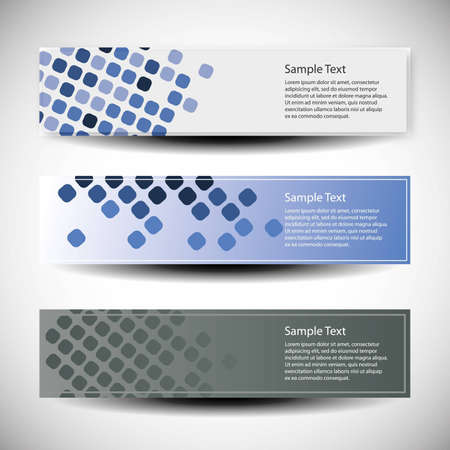 header label: Vector set of three header design  Illustration