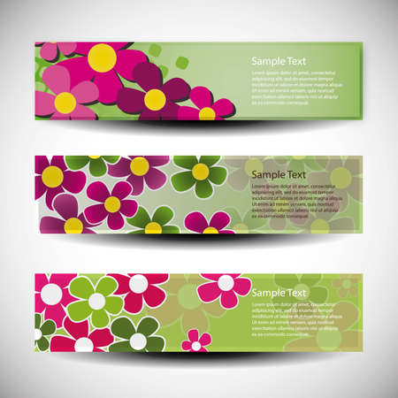 Vector set of three banner design with flowers Vector