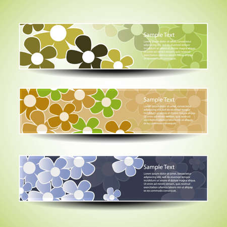 Vector set of three banner design with flowers Stock Vector - 9897462