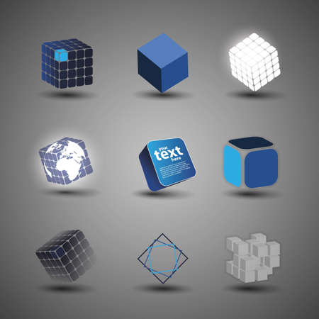 Collection Of Cube Designs Vector