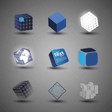 Verzameling Van Cube Designs Vector Illustratie