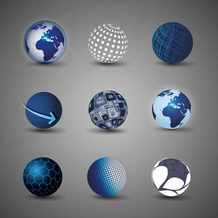 Collection Of Globe Designs Stock Vector - 9897460