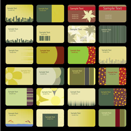 namecard: Business Card Backgrounds: flowers, cityscape, bar code  Illustration