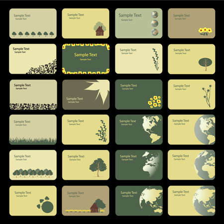 Business Card Backgrounds: Earth, Nature, Flowers  Vector