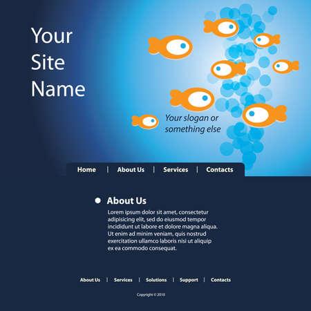 fish store: Sitio Web Vector plantilla Vectores