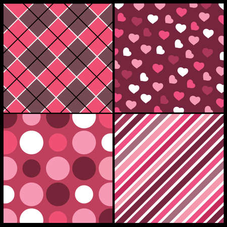 diagonal: A set of 4 patterns for Valentines day Illustration