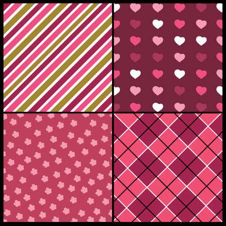 polka dot pattern: A set of 4 patterns for Valentines day Illustration