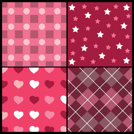 A set of 4 patterns for Valentines day Stock Vector - 10021542