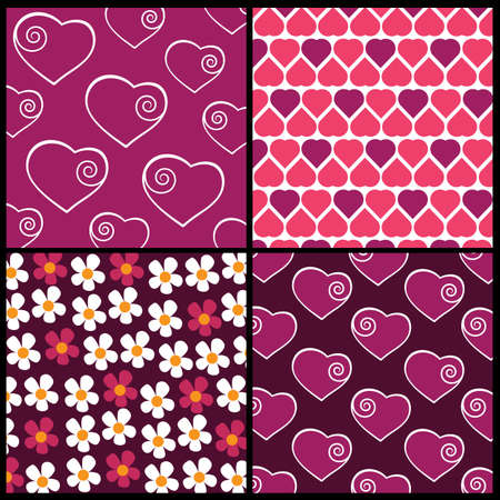 A set of 4 patterns for Valentines day Stock Vector - 10021607