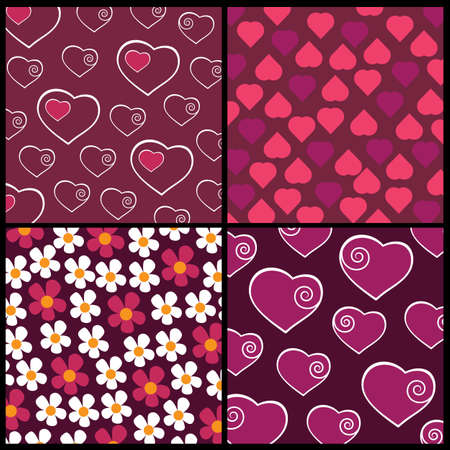 A set of 4 patterns for Valentines day Vector