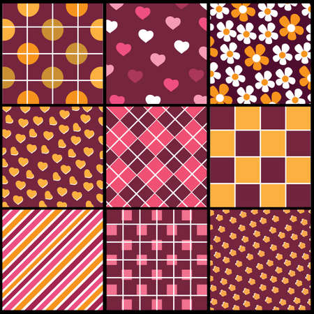 A set of 9 patterns for Valentines day Vector