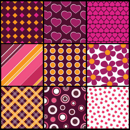 magenta: A set of 9 patterns for Valentines day