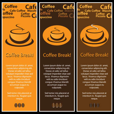 cafe latte: 3 coffee banners
