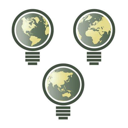 World map in light bulb - environmental  Vector