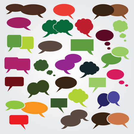 Collection of Colorful Speech And Thought Bubbles Background  Illustration