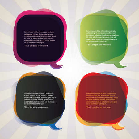 speech icon: Collection of Colorful Speech And Thought Bubbles Background  Illustration