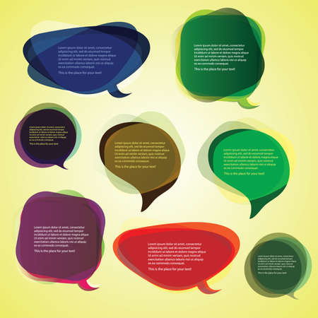 Collection of Colorful Speech And Thought Bubbles Background Stock Vector - 10023930