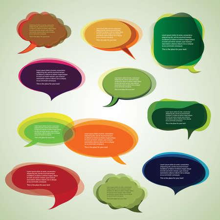 マンガの吹き出し: カラフルなスピーチおよび思考の泡の背景のベクトルのコレクション