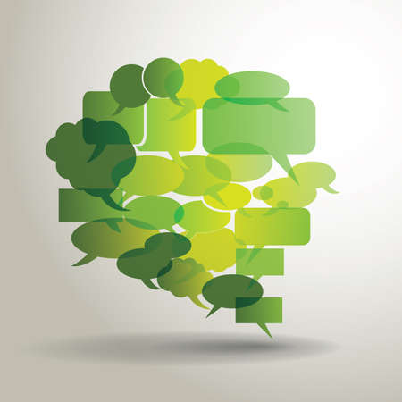 Big green speech bubble made from small bubbles Vector