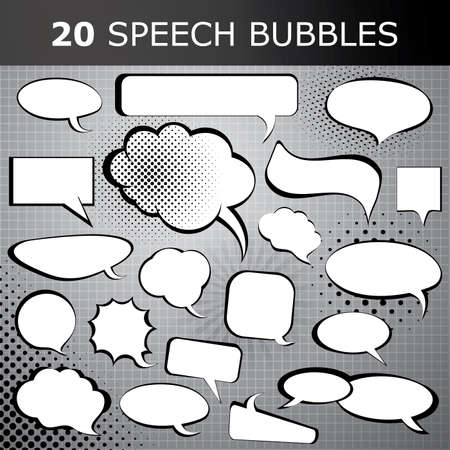 speech icon: Comic style speech bubbles collection