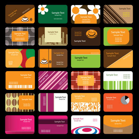 24 Colorful Business Cards Stock Vector - 10088123