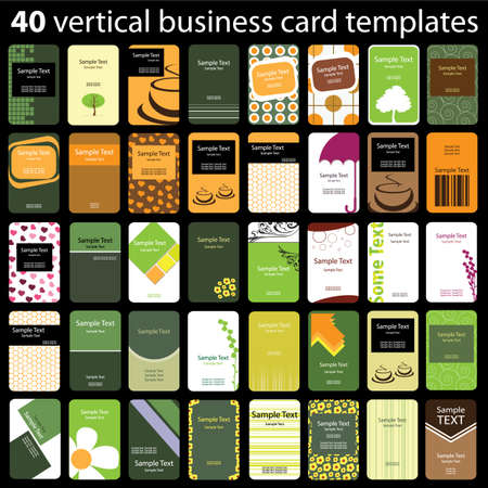 40 Colorful Vertical Business Cards Stock Vector - 10088179