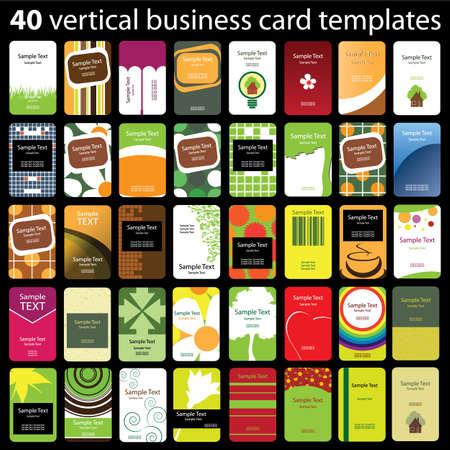 carte de visite vierge: 40 Colorful Business Cards Verticale