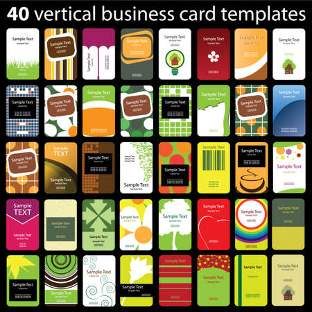business card template: 40 Colorful Vertical Business Cards Illustration