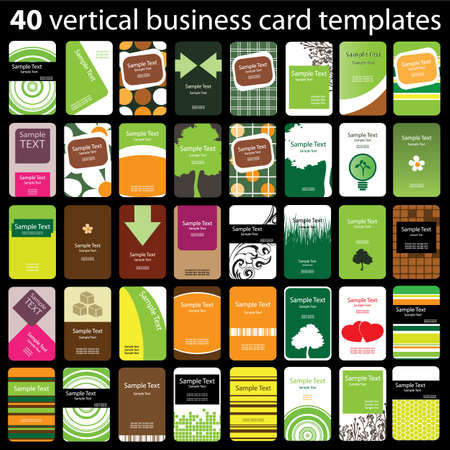 blank business card: 40 Colorful Vertical Business Cards Illustration