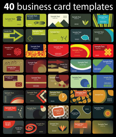 40 Colorful Business Cards Vector