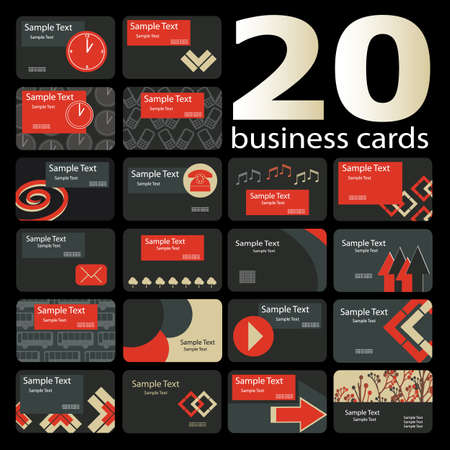 20 Colorful Business Cards Vector