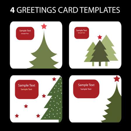 4 Christmas Cards Vector