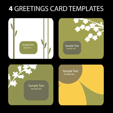 4 Greetings Card Templates Stock Vector - 10270603