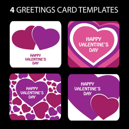 4 Greeting Cards: Valentines Day Vector