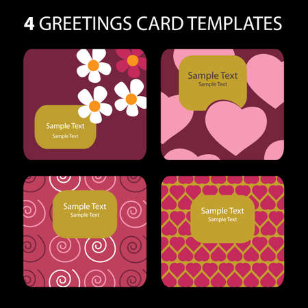 wrappers: 4 Greeting Cards: Valentines Day Illustration