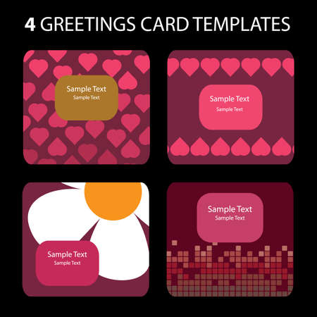 4 Greeting Cards: Valentine's Day Stock Vector - 10270581