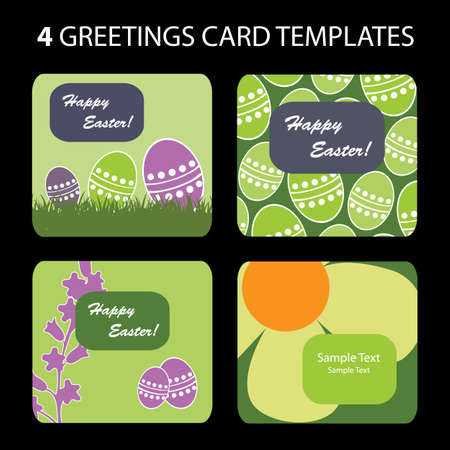 4 Easter Greeting Cards Vector
