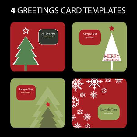 4 Christmas Cards Stock Vector - 10270550