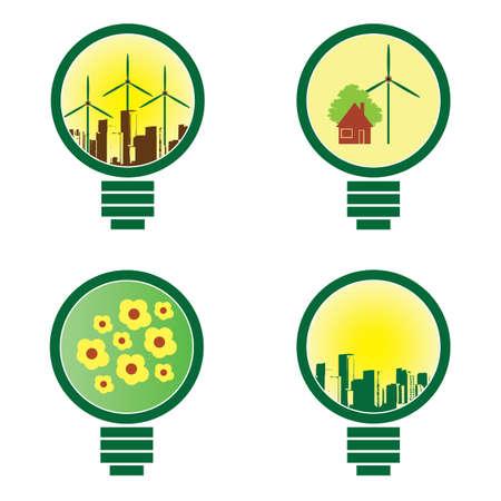 conciencia ambiental: 4 Bombilla - ilustraci�n vectorial del medio ambiente Vectores