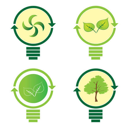 environmental awareness: Renewable green energy: 4 Light Bulb Illustration